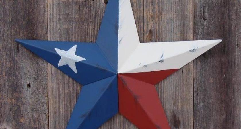 Metal Barn Star Inch Painted Rustic Texas Flag Ebay