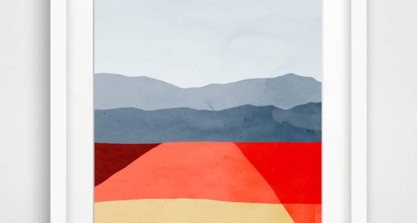 Mid Century Modern Art Print Abstract Wall Minimalist