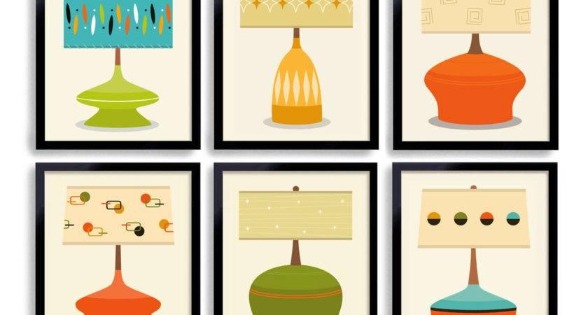 Mid Century Modern Art Print Wall Grouping Lamp Shade