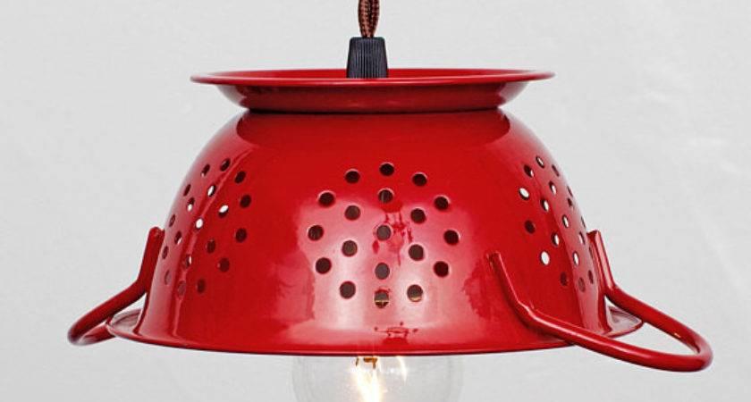 Mini Kitchen Colander Pendant Light Cherry Red Enamel
