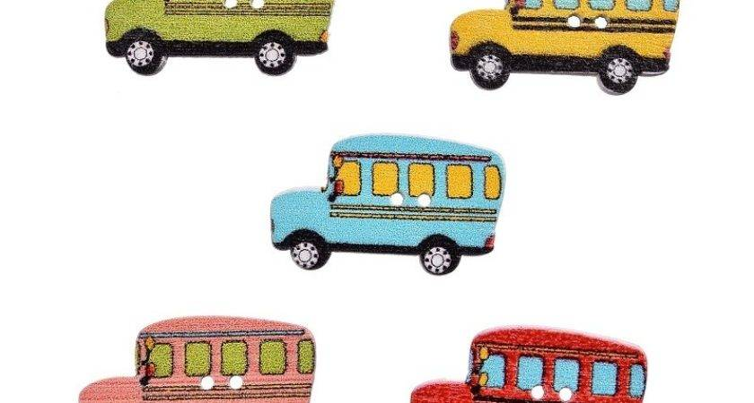 Mixed Wooden School Bus Shape Painting Buttons