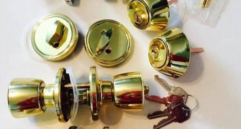 Mobile Home Entrance Deadbolt Door Lock Set Brass Finish