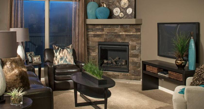 Model Homes Contemporary Living Room Omaha
