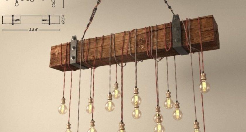 Models Ceiling Light Chandelier Made Wooden Beams Diy