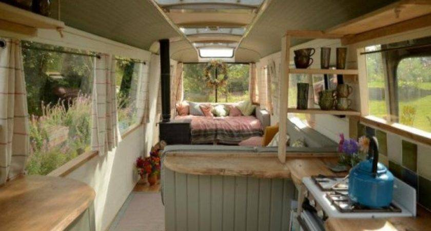 Modern Bedroom Looks School Bus House Conversion