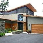 Modern Exterior Home Stacked Stone Wall Metal