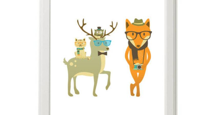 Modern Nursery Wall Art Hipster Deer Fox