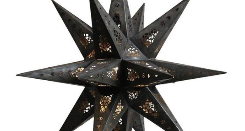 Moroccan Tin Star Lantern Chairish
