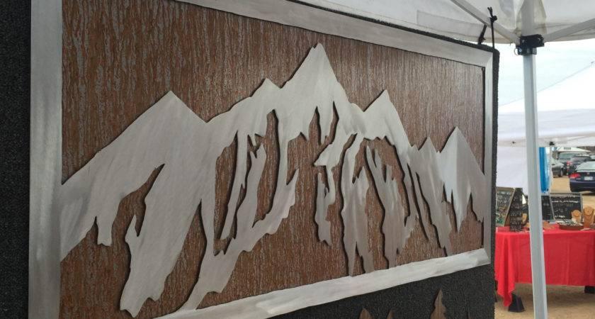 Mountain Decor Metal Wall Art Mural Western