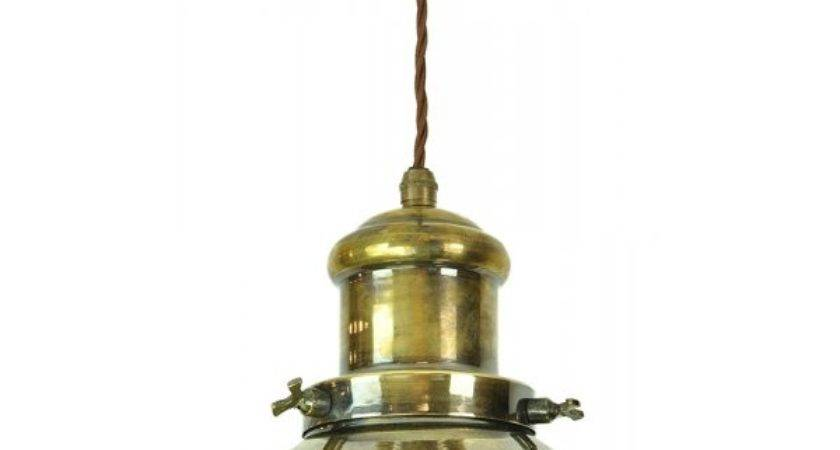 Nautical Style Ceiling Pendant Aged Brass Vintage Bulb