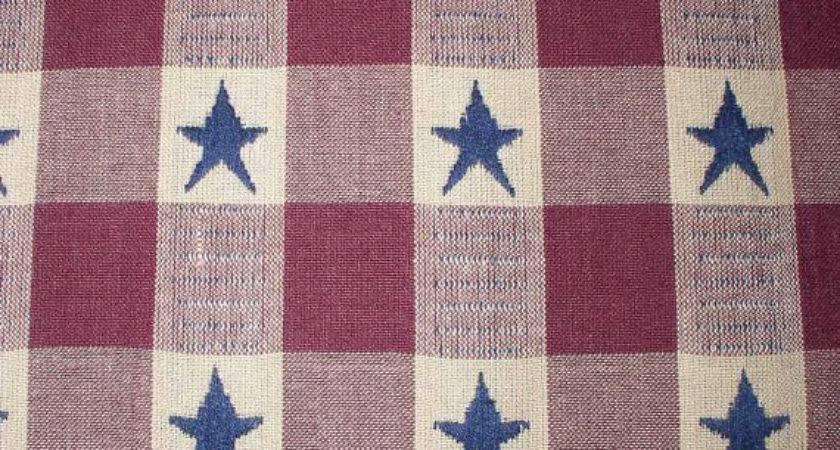 Navy Stars Burgundy Plaid Homespun Fabric Fat Quarter