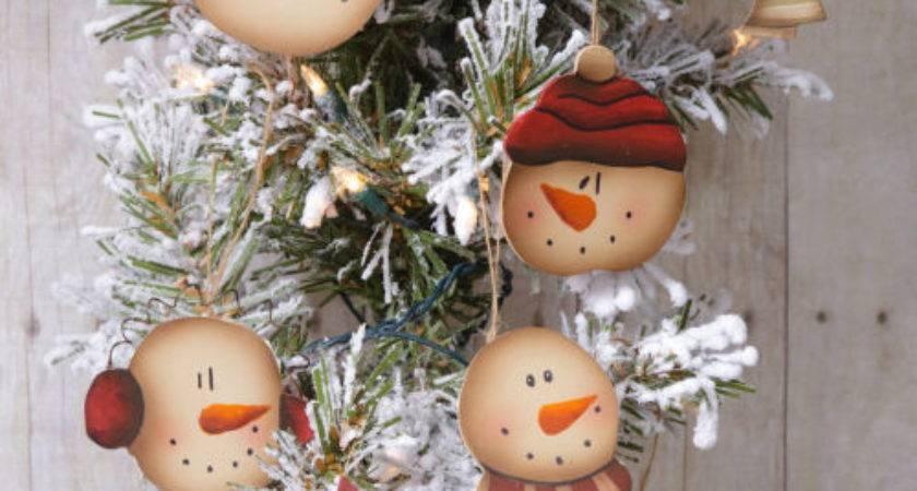 New Primitive Rustic Folk Art Christmas Tree Snowman Face
