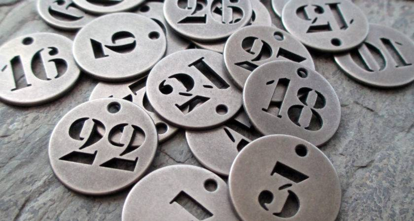 Number Charms Round Metal Industrial Silver Toned Pewter