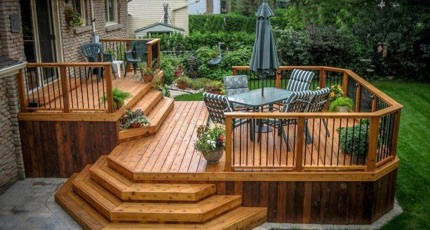 Octagonal Deck Traditional Wood Steps