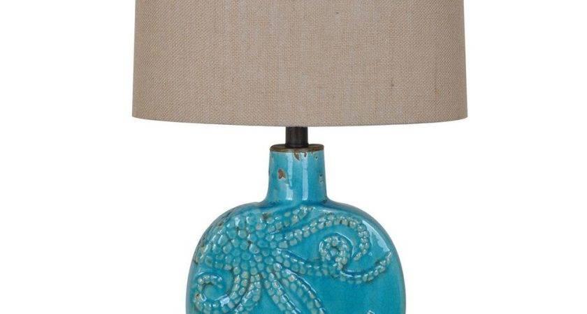 Octopus Table Lamp Turquoise Coastal Nautical Ocean Beach