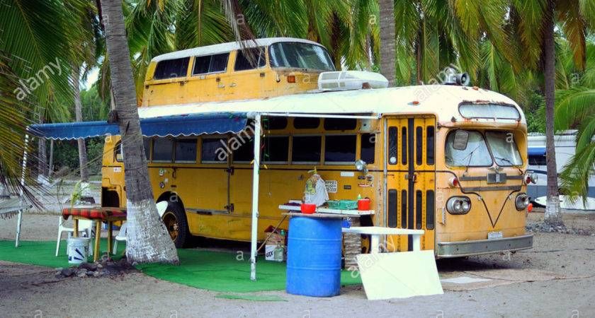 Old Yellow School Bus Converted Into Double Decker
