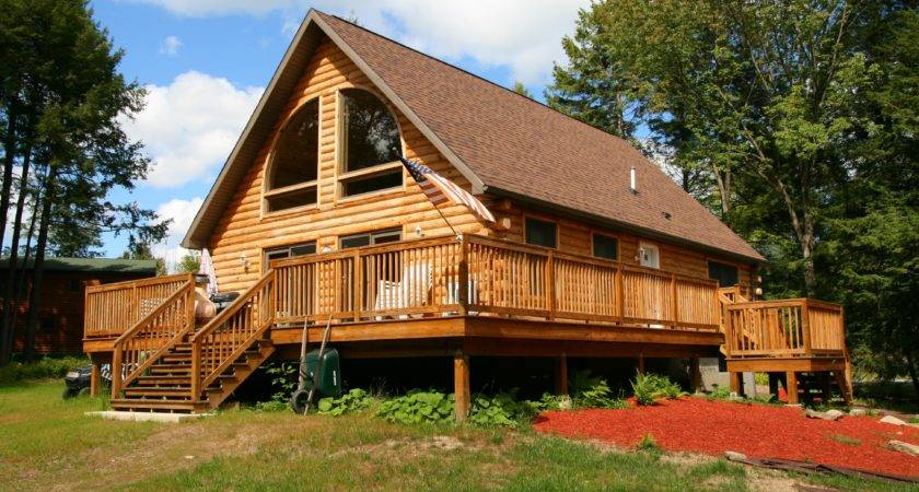 One Story Log Home Wrap Around Porch