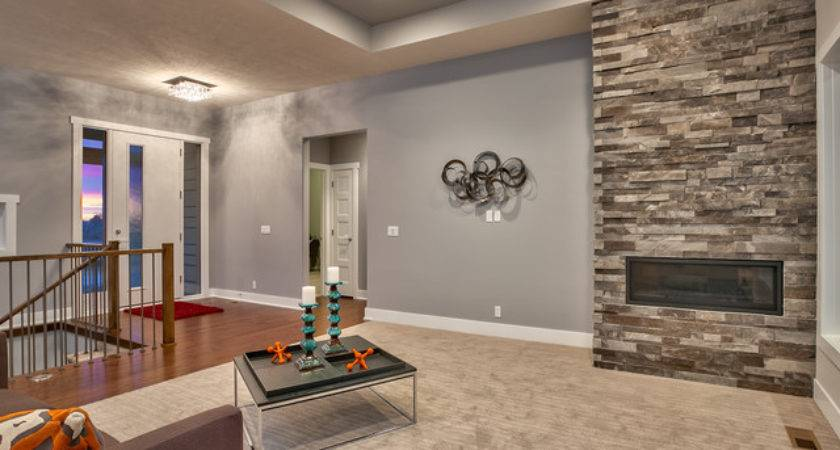 Open Concept Ranch Modern Living Room Omaha