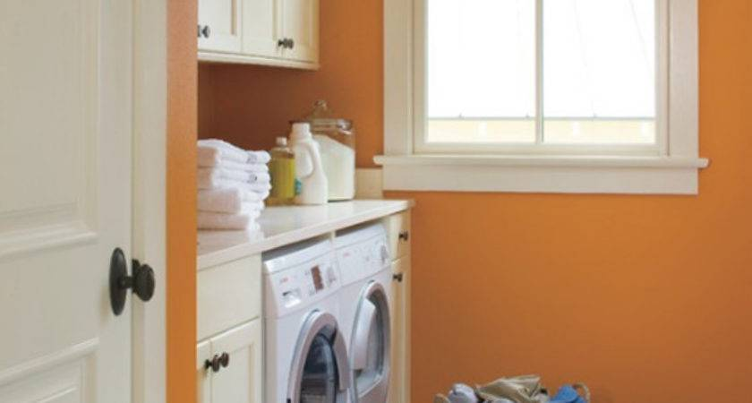 Orange Colored Laundry Room Decorating Ideas