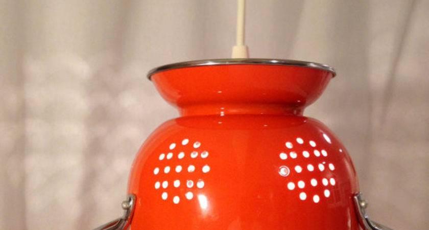 Orange Hanging Colander Pendant Light Benchmarklights