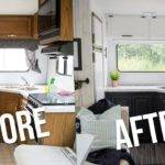 Our Diy Camper Kitchen Reveal Paint Oak Cabinets