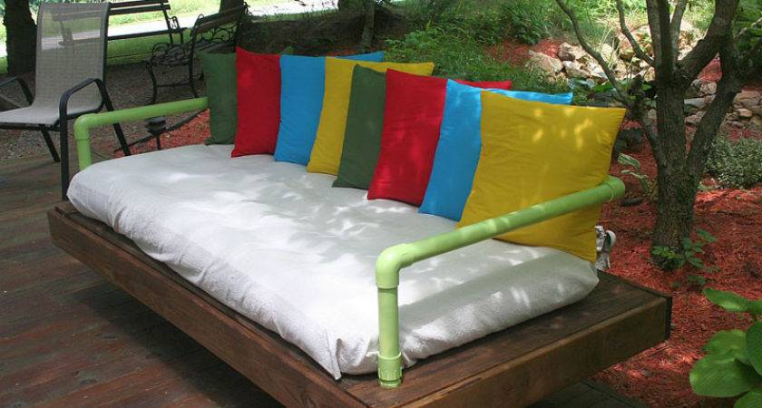 Outdoor Bed Sofa Built Pallets Pvc Pipesdiy