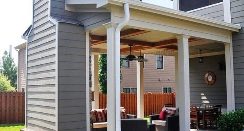 Outdoor Covered Patio Fireplace Great Addition Idea