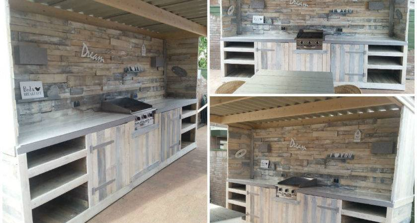 Outdoor Kitchen Made Repurposed Pallets Recyclart
