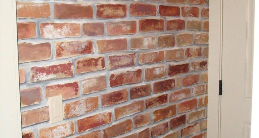 Painted Faux Brick Wall Give Mud Room Little