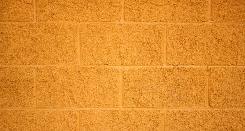 Painted Yellow Cinder Block Wall Texture