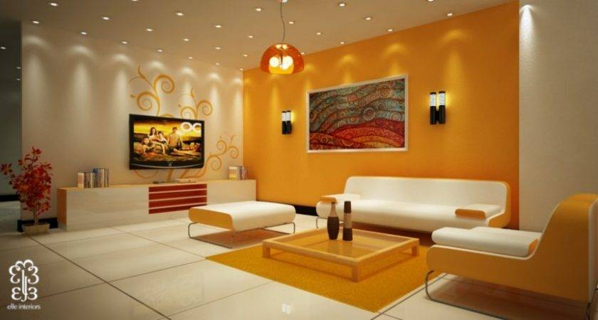 Painting Warm Beautiful Orange Accent Wall