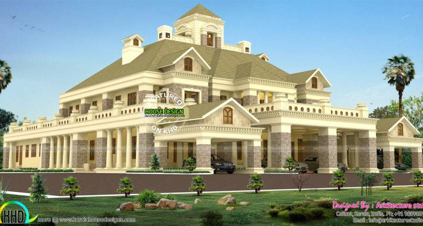Palace Style Luxury Colonial Home Kerala Design