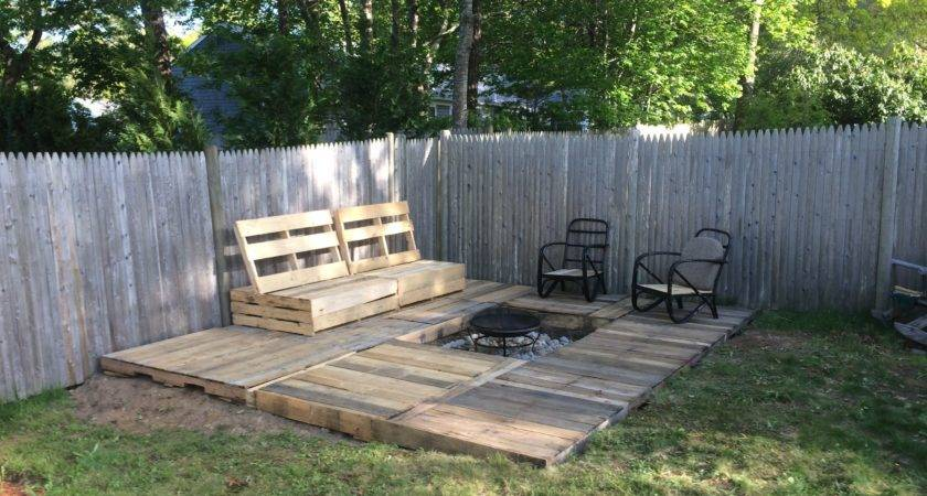 Pallet Deck Bench Fire Pit Took