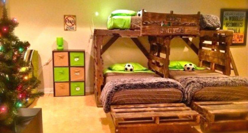 Pallet Furniture Bed Lights Headboard Diy