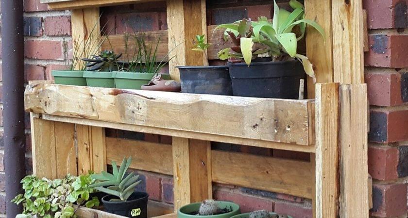 Pallet Garden Shelves Rustic Shelf Table Has