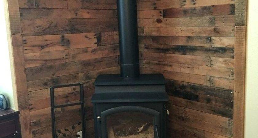 Pallet Wall Behind Wood Stove Heat Shield Ideas