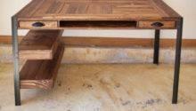 Pallet Wood Desk Drawers Center Shelf Lower
