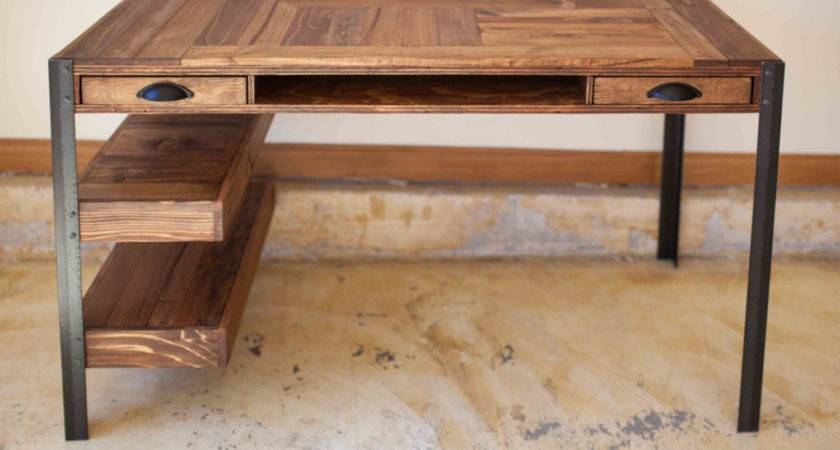 Pallet Wood Desk Drawers Center Shelf Lower