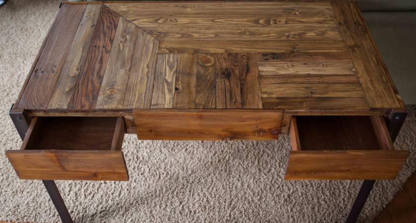 Pallet Wood Desk Metal Legs Two Drawers