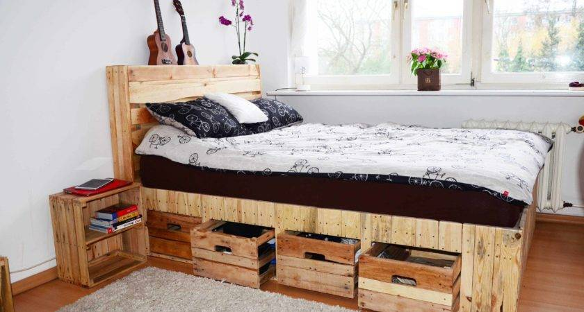 Pallet Wood King Bed Drawers Storage