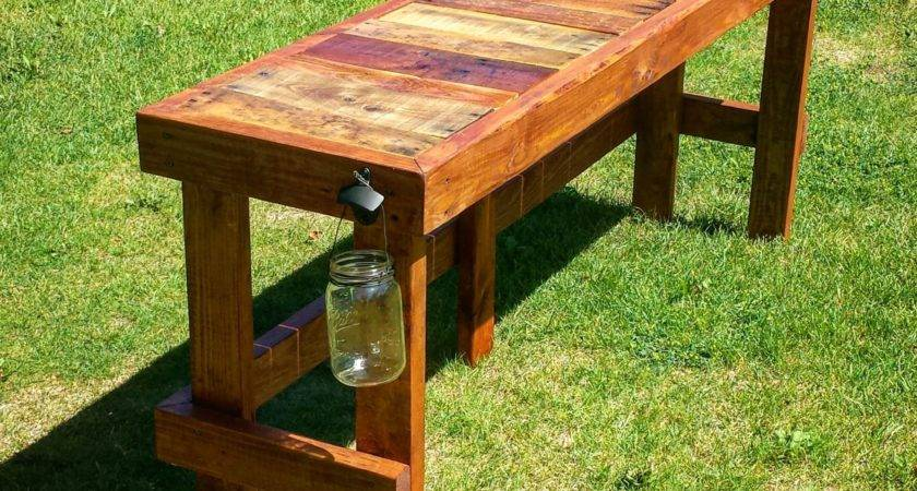 Pallet Wood Top Bar Outdoor Table
