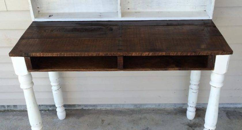 Pallets Made Reclaimed Desk Shelves Pallet Ideas