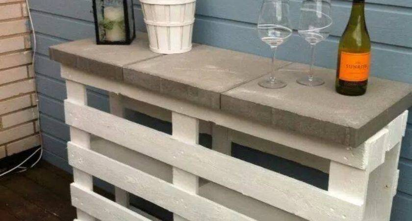 Pallets Pavers White Paint Great Outdoor Shelf