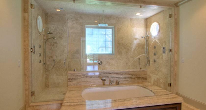 Paneled Tub Walk Through Double Shower Bathroom