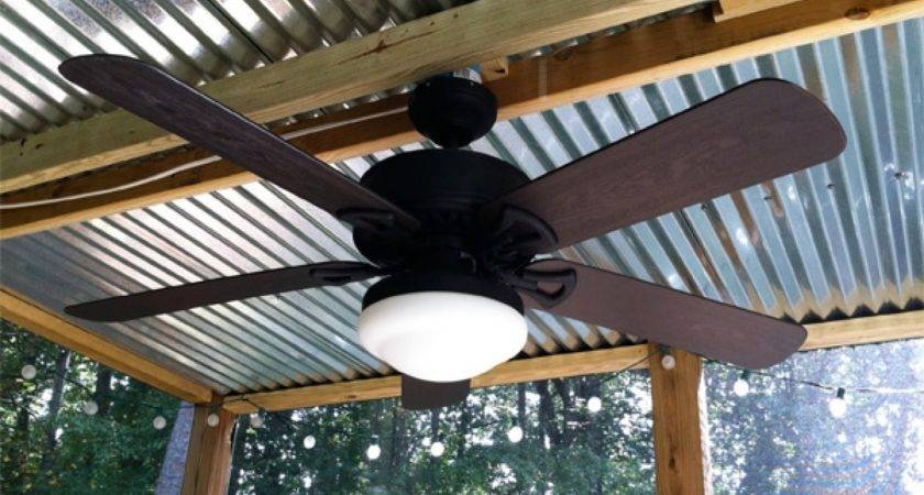 Patio Ceiling Fans Lights Corrugated Metal Roof