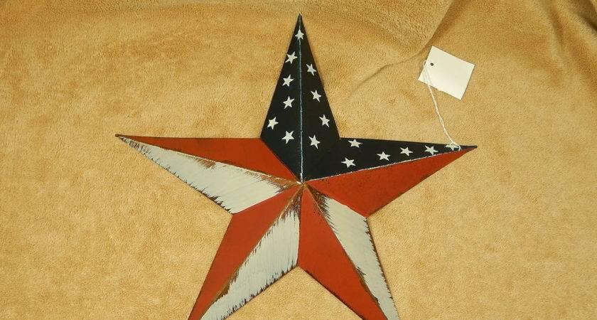 Patriotic Americana Metal Star Wall Decor Barn Ebay