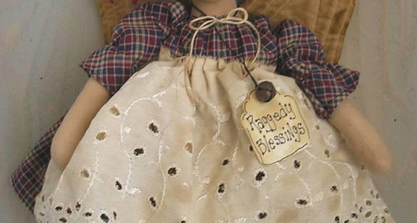 Pattern Primitive Raggedy Ann Angel Doll Folk Art Fabric