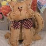Pattern Primitive Raggedy Kitty Cat Angel Doll Folk Art