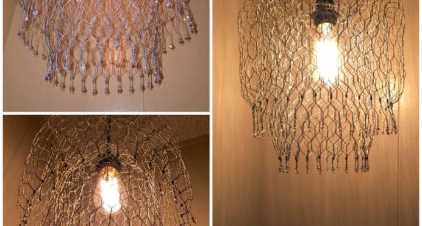 Pendant Hanging Lamp Chandelier Handmade Chicken Wire