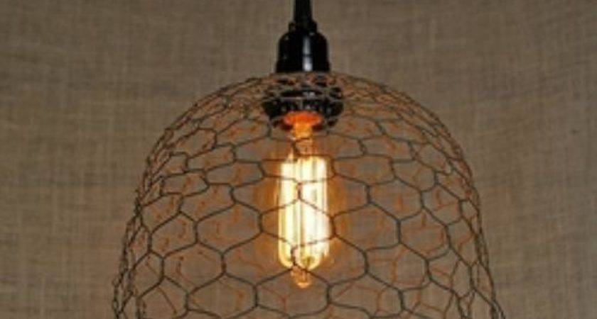 Pendant Lamp Rustic Chicken Wire Shade Vintage Antique
